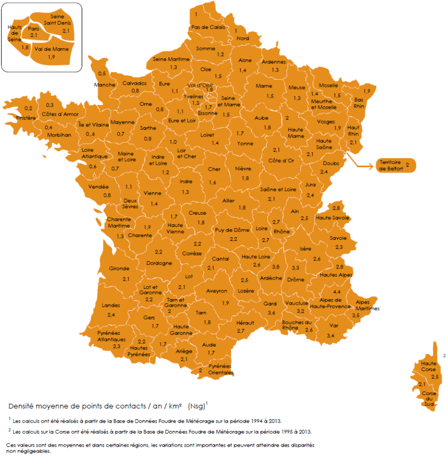 French map of the density of the touching points of the lightning