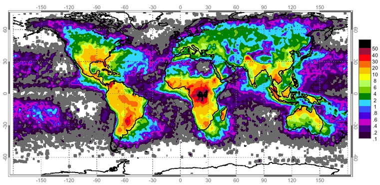 world map showing the lightning density (Ng)